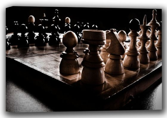 Wooden Chessboard and Chess Pieces Canvas. Sizes: A4/A3/A2/A1 (001759)
